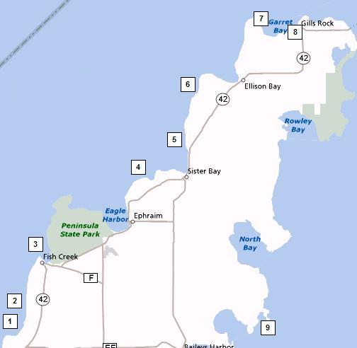 Map of Northern Door County Shore Diving Points