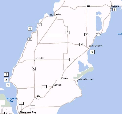 Map of Southern Door County Shore Diving Points