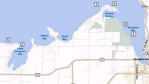 Map of Sturgeon Bay Shore Diving Points
